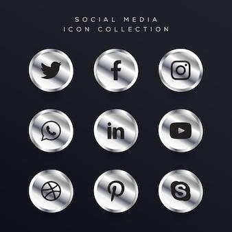 silver social media icons set