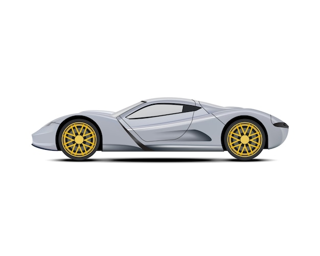 シルバーのスポーツカー。 Premiumベクター