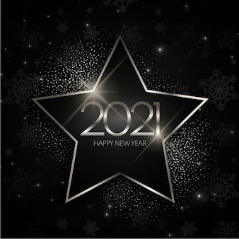 Silver star new year 2021 background