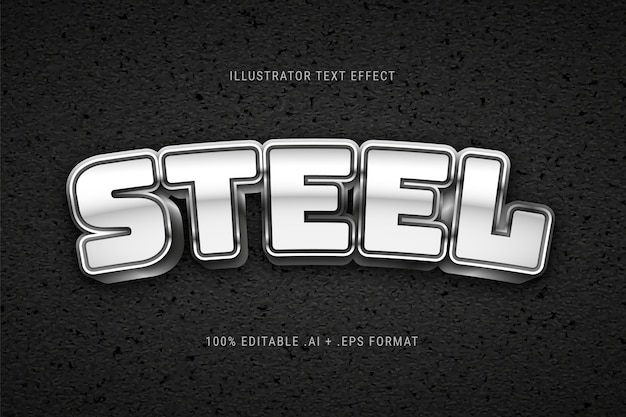Silver steel text effect
