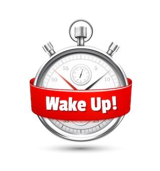 目を覚ますように促すメッセージが付いた赤いリボンで包まれたシルバーのストップウォッチ