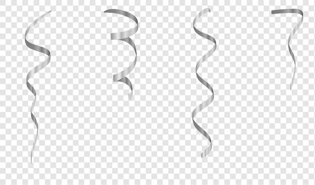 シルバーストリーマーは、透明な背景に分離されたシルバーの曲がりくねったリボンを設定します