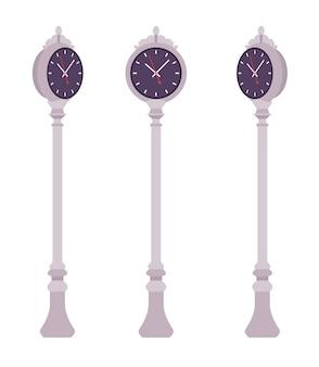 Серебряные уличные часы установлены. тротуарный столб для установки на городской пейзаж или в парк для измерения времени, часов, минут. ландшафтная архитектура и городская концепция. иллюстрации шаржа стиля