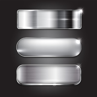 Silver style button set the design of the modern on black background