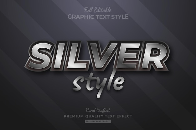 Silver style editable premium text effect font style