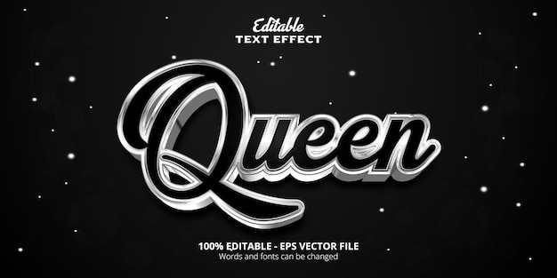 Silver style editable text effect, queen text