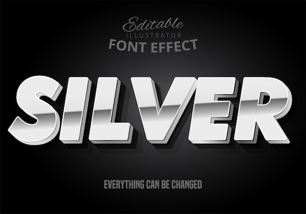 Silver text, editable font effect