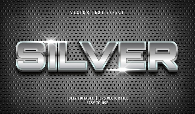 Silver  text effect, editable text style