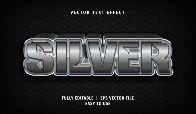 Серебряный текстовый эффект, редактируемый текстовый стиль