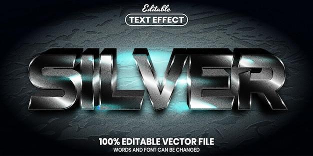 シルバーテキスト、フォントスタイルの編集可能なテキスト効果