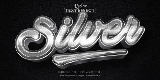 シルバーテキスト、光沢のあるメタリックシルバースタイルの編集可能なテキスト効果