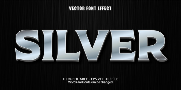 Silver text,shiny  metallic style editable text effect