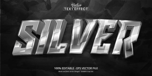 실버 텍스트, 반짝이는 실버 색상 스타일 편집 가능한 텍스트 효과