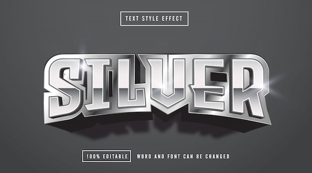 Silver text style effect editable