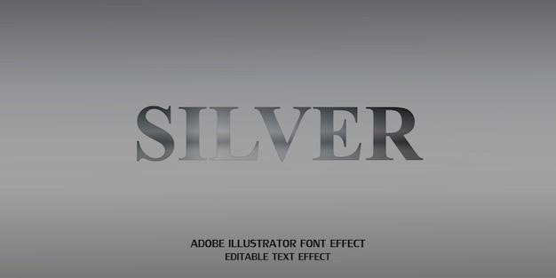 Современный алфавитный шрифт silver text style эффект редактируемый