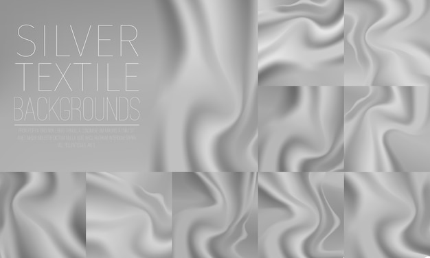 Silver textile drapery horizontal backgrounds set