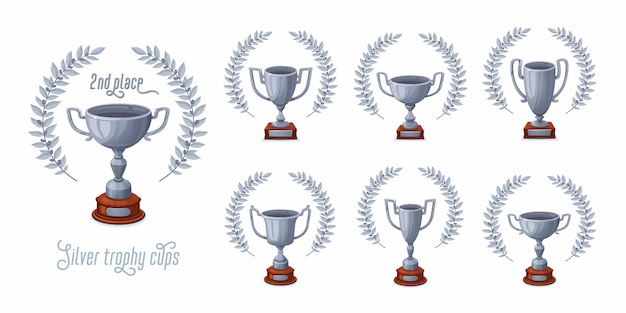 Silver trophy cups with laurel wreaths