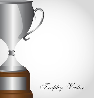 Silver trophy over gray background close up