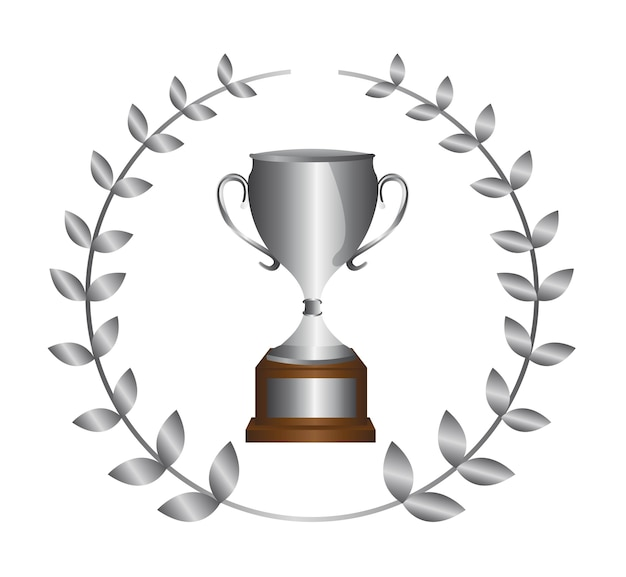 Silver trophy with laurel wreath isolated
