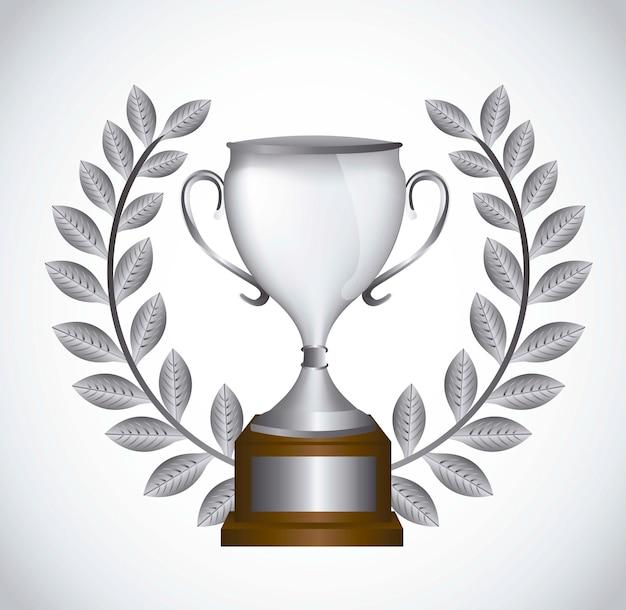 Silver trophy with laurel wreath