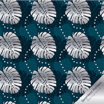 Silver tropical leaves seamless pattern