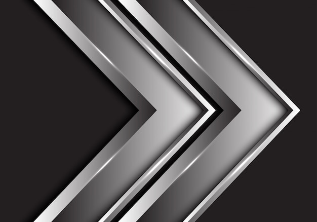 Silver twin arrow metallic direction on black background.