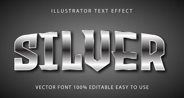 Серебряный векторный редактируемый текстовый эффект