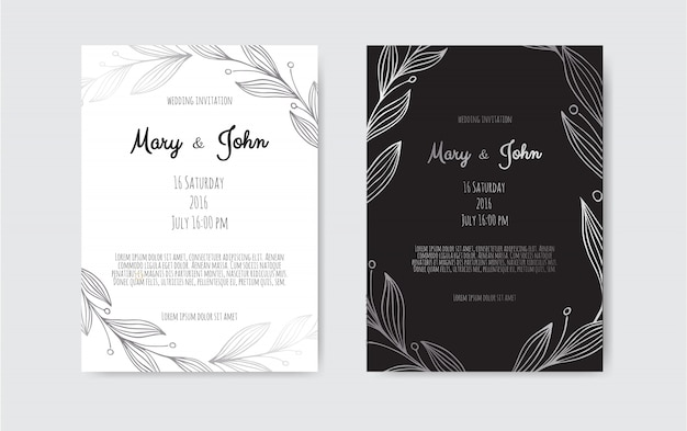 Silver vector invitation with floral elements