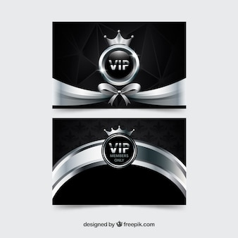 Silver vip cards with ribbon and crown