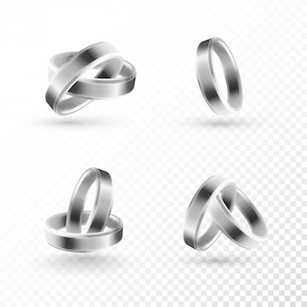Silver wedding rings.