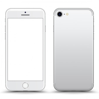 Silver / white phone  with blank screen isolated.