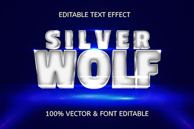 Silver wolf style luxury editable text effect