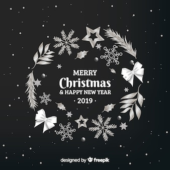 Silver wreath new year background