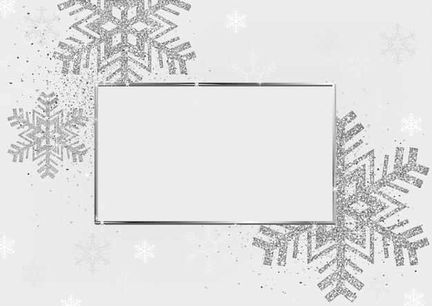Silver xmas background with frame