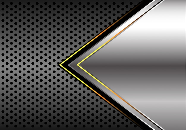 Silver yellow light arrow dark grey circle mesh background.