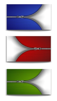 Silver zip with red,  blue and green background.