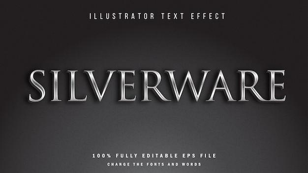 シルバーウェア、3dテキスト効果の活版印刷デザイン