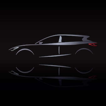 Silvery silhouette of car on black background with reflection.