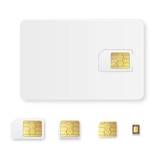 Sim 카드 개체 현실적인 아이콘 벡터 simcard 절연 d 디자인 gsm