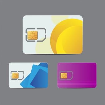 Simカード。携帯電話接続の現実的なプラスチックカード。ブランド製品