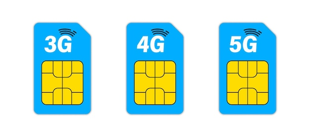 Sim card. set of 3g, 4g & 5g sim cards. mobile and wireless communication technologies. network chip electronic connection