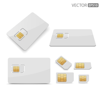 Sim card on white background.