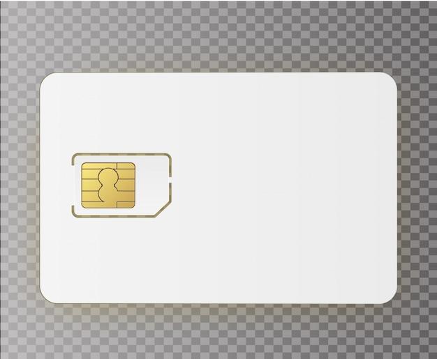 背景に分離されたsimモバイル携帯電話simカードチップ。ストックイラスト。