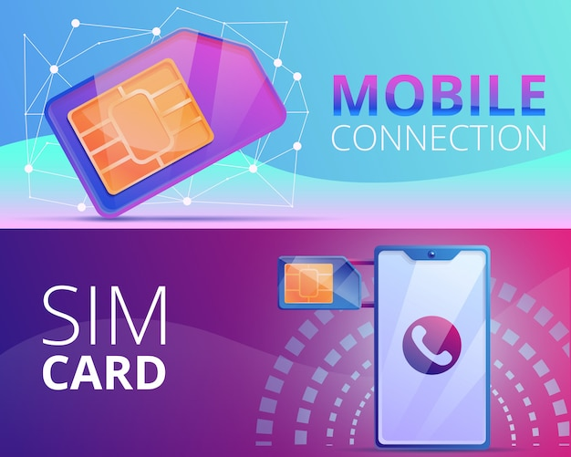 Sim phone card illustration set on cartoon style