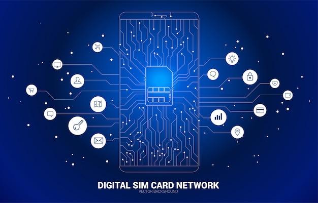 ベクトル多角形ドットは、機能的なアイコンと携帯電話回路基板スタイルの線の形をしたsimカードアイコンを接続します。モバイルsimカード技術とネットワークのための概念。