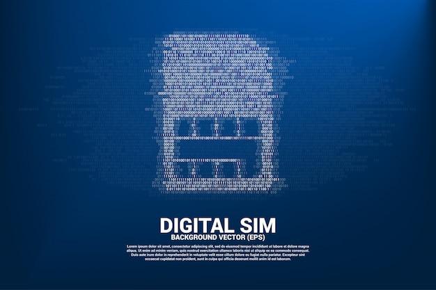Значок sim-карты со стилем матрицы цифр один и ноль двоичного кода. концепция технологии цифровой сим-карты и сети.