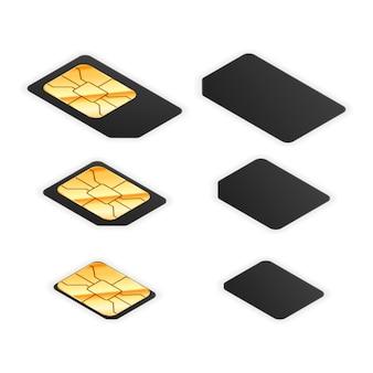 両側から金色の光沢のあるチップを備えた電話用の黒の標準、マイクロ、ナノsimカードのセット