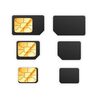 黄金の光沢のあるチップを備えた電話用の黒の標準、マイクロ、ナノsimカードのセット