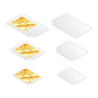 黄金の光沢のあるチップを備えた電話用の空白の標準、マイクロおよびナノsimカードのセット