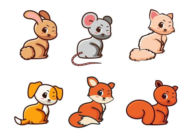 Insieme di stile piatto simile di simpatico coniglio, topo, gatto e altro su un bianco. adorabili animali della foresta su uno sfondo bianco
